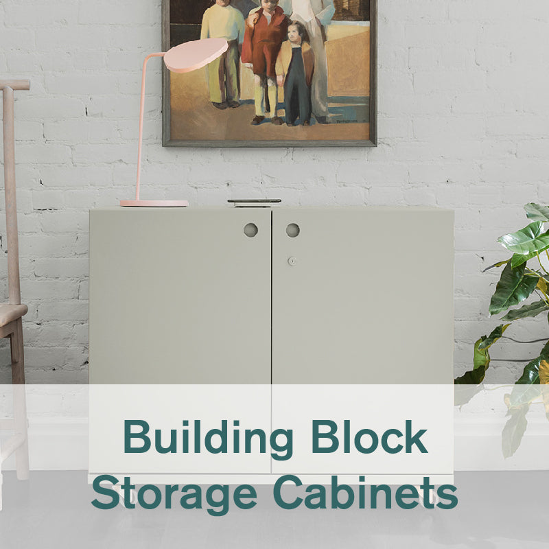 Heartwork Building Block storage cabinet in warm stone against a white wall in home setting