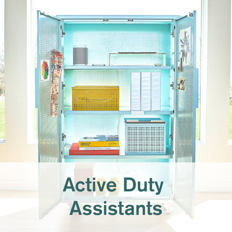 Heartwork tall Active Duty assistant in fresh mint with open doors in home setting