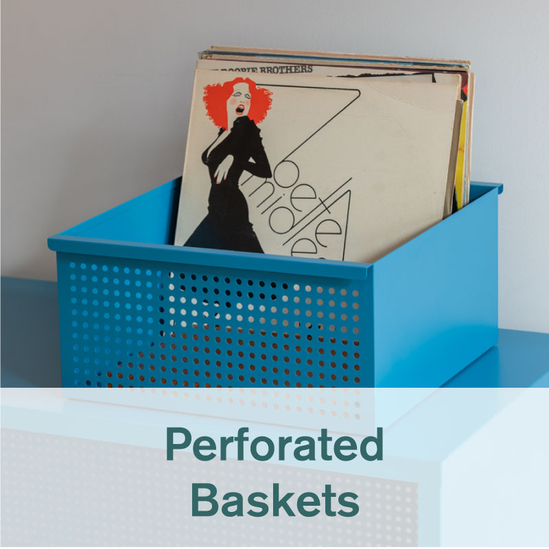 Heartwork perforated basket in true blue with records inside