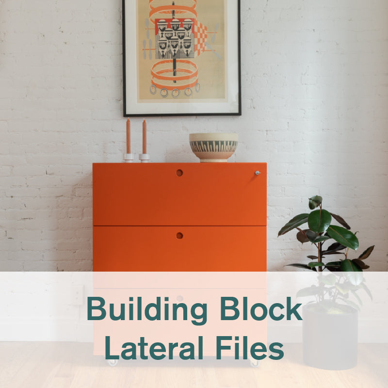 Heartwork Building Block lateral filing cabinet in warm orange against a white wall in home setting