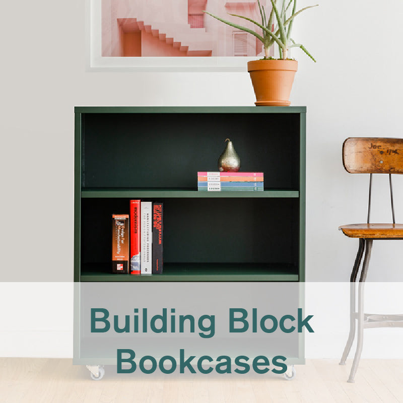 Heartwork Building Block bookcase in deep green with books in home setting