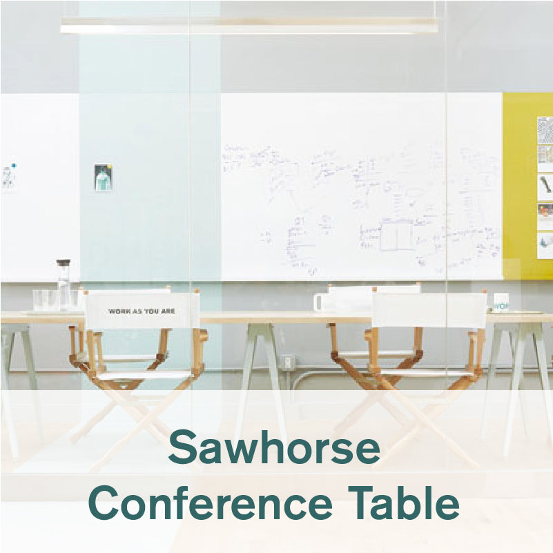 Heartwork Sawhorse conference table with chairs in office setting