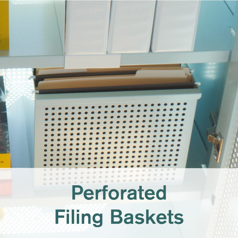 Heartwork perforated filing basket in white with files inside Active Duty Assistant cabinet