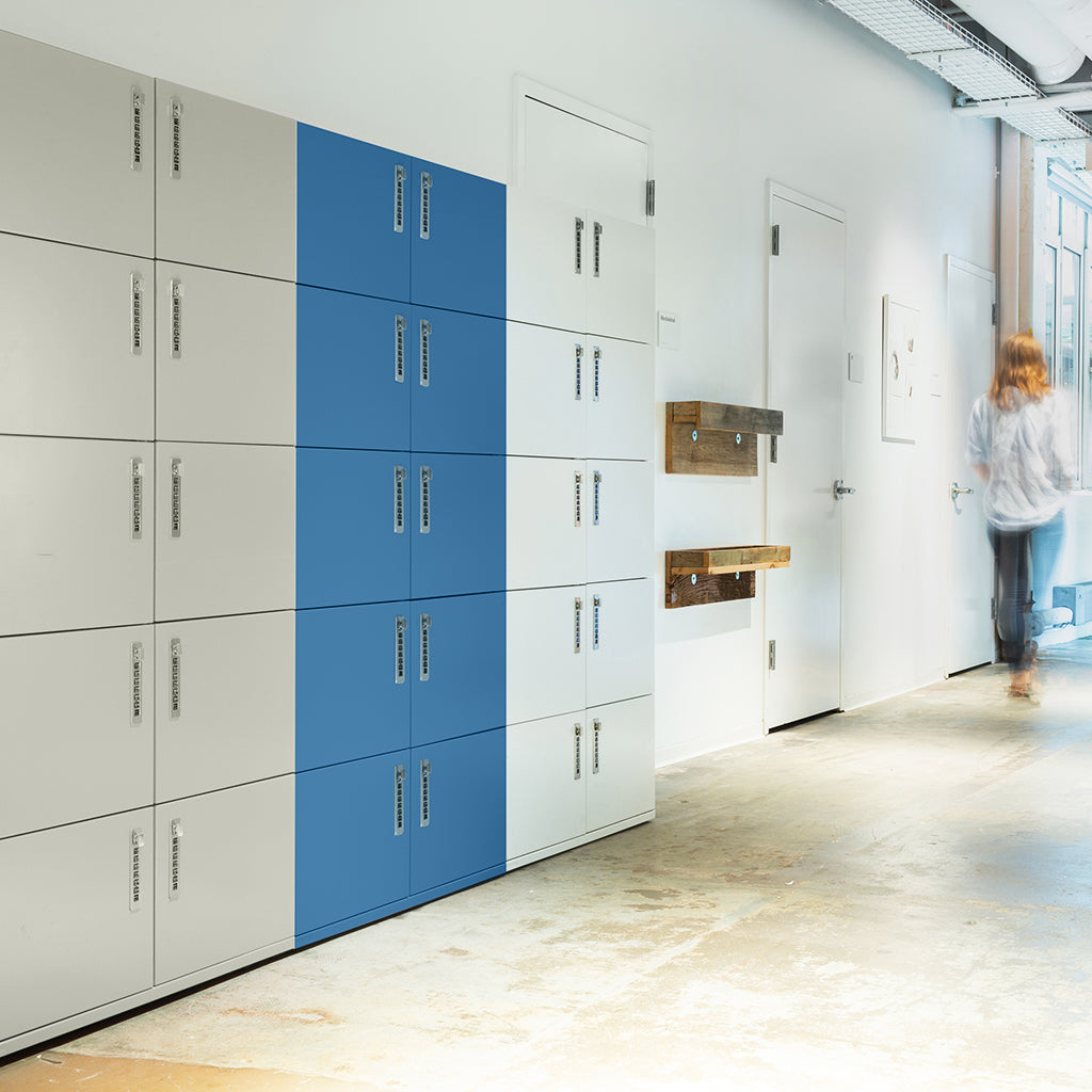 Heartwork Lockers against in different colours against the wall wall in office setting