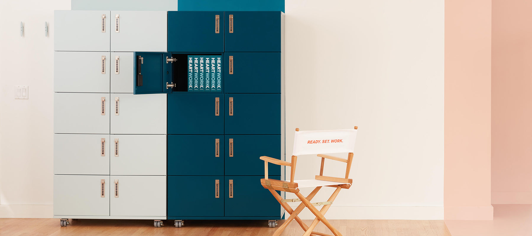 Heartwork showroom showing lockers and a chair