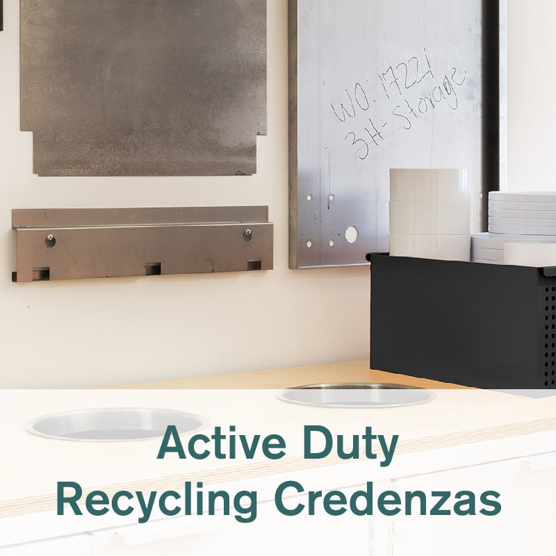 Heartwork Active Duty recycling credenza showing openings on worktop