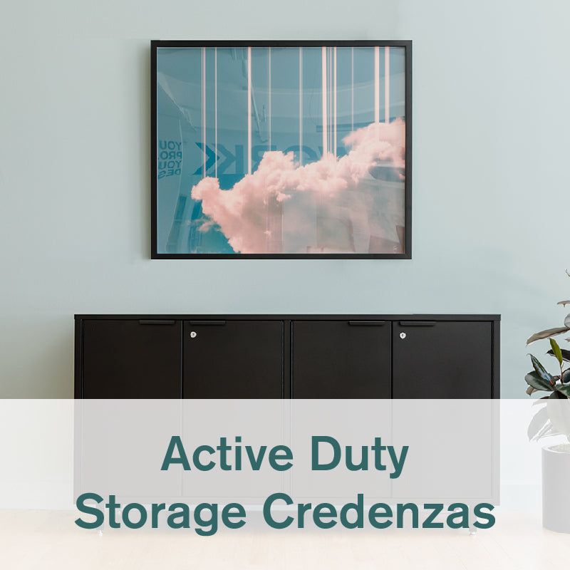 Heartwork Active Duty storage credenza in black against a light coloured wall in home setting