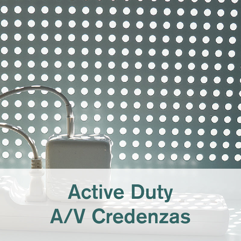 Detail of Heartwork Active Duty A/V credenza showing the perforated back and cables running through the open back