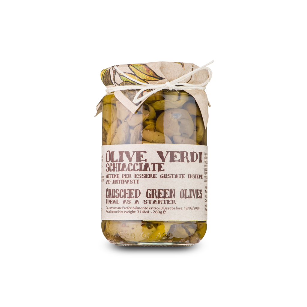 Crispy crushed green olives flavored with fennel - 280g