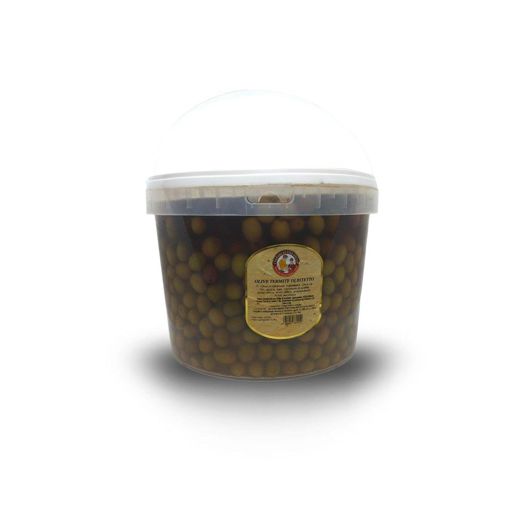 Termite di Bitetto Olives 18mm in Brine Bucket 5 Kg - Italian Market