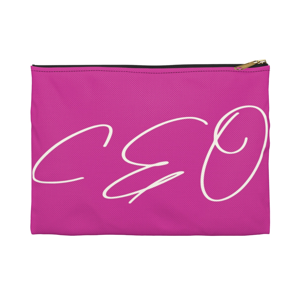 CEO Power Pink/White Accessory Pouch