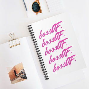 bossAF White/Pink Spiral Notebook