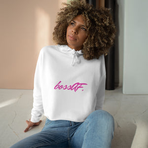 LIMITED EDITION bossAF White/Pink Cropped Hoodie