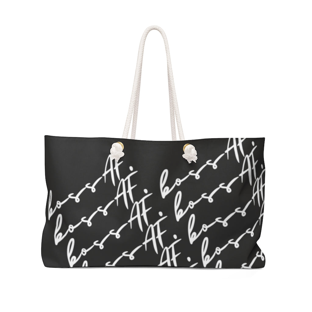 bossAF Black/White Weekender Bag