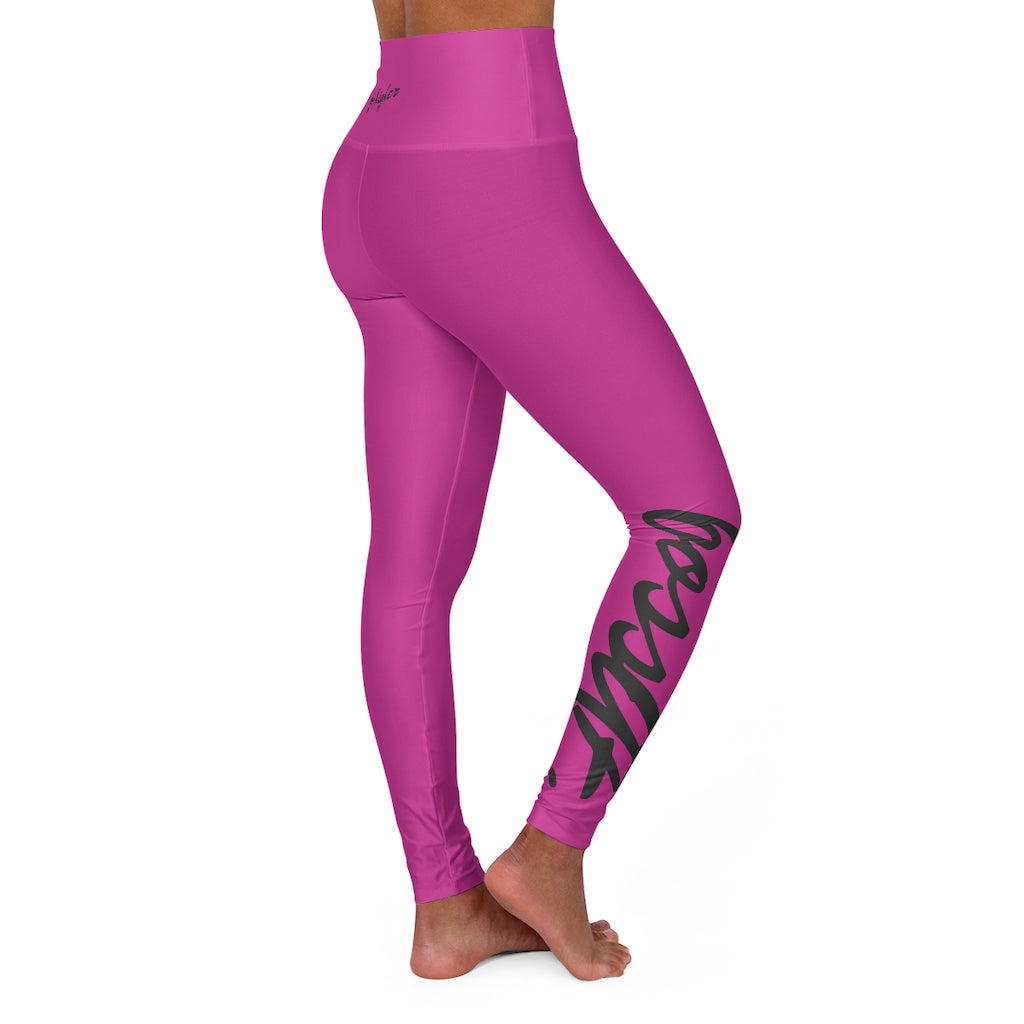 bossAF Black/Pink High Waisted Leggings