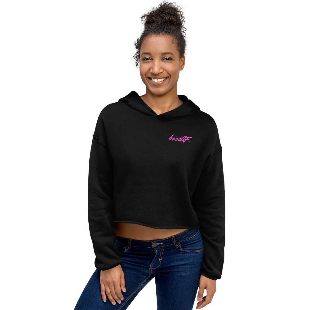 bossAF Black/Power Pink Monogram Cropped Hoodie