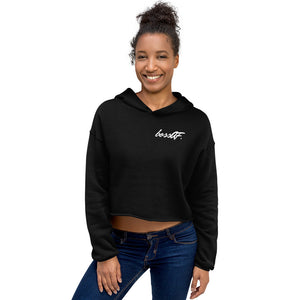 bossAF Monogram Cropped Hoodie Black/White
