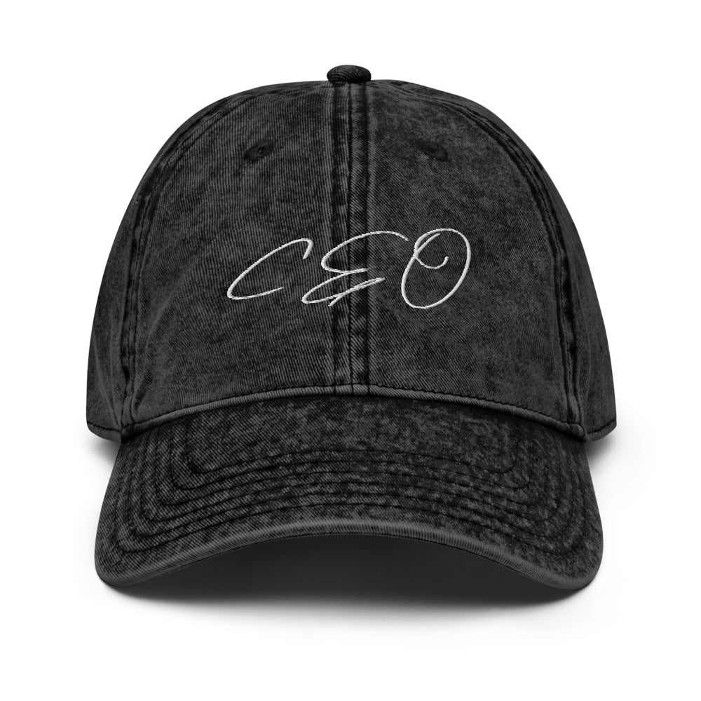 CEO Black/White Vintage Dad Cap