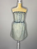 Garage Dress Denim Strapless Pleat Side Pockets NWT SP