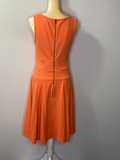 Nicole Miller Dress Orange Sleeveless Low-Waist M