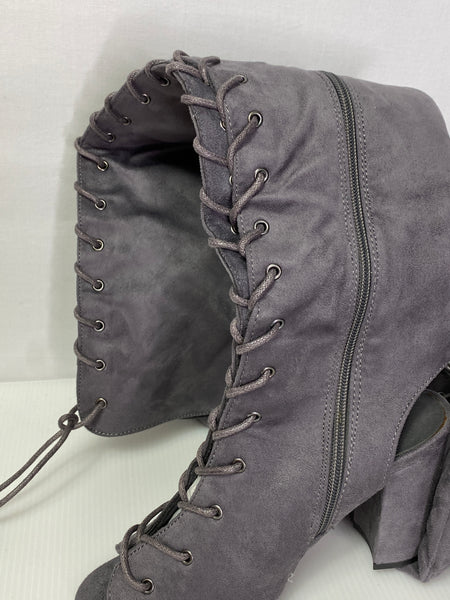 "Boots Above Knees Lace-Up Grey 4"" Heels NWOT 6-1/2"