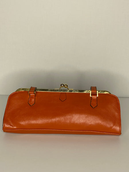 Clutch Green Lining Dark Orange Top Closure