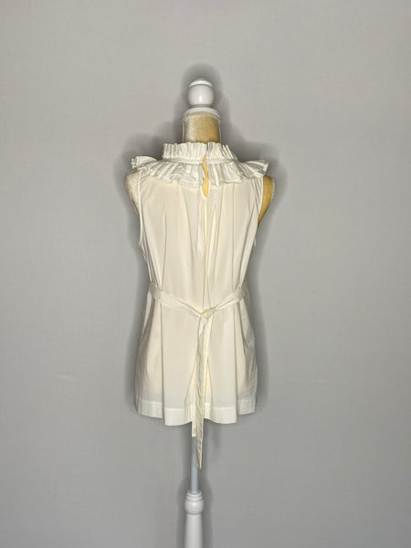 BCBGMaxAzria Top ruffled Sleeveless White Belt M