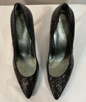 "Guess Shoes Black Sequins, Patent 41/4"" Heels (9)"