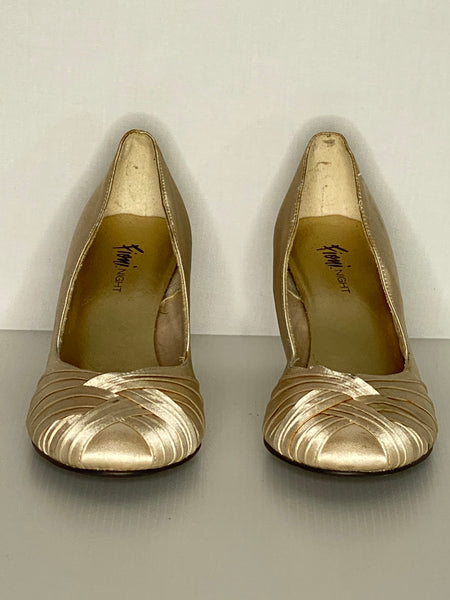 Fioni Night Shoes Satin Tan 3 Inch Heels 9