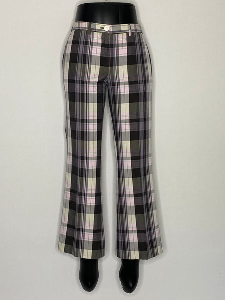 Mario Matteo Pants Grey & Pink Plaid Cotton 4