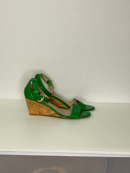Ellen Tracy Wedge Sandals Emerald Green