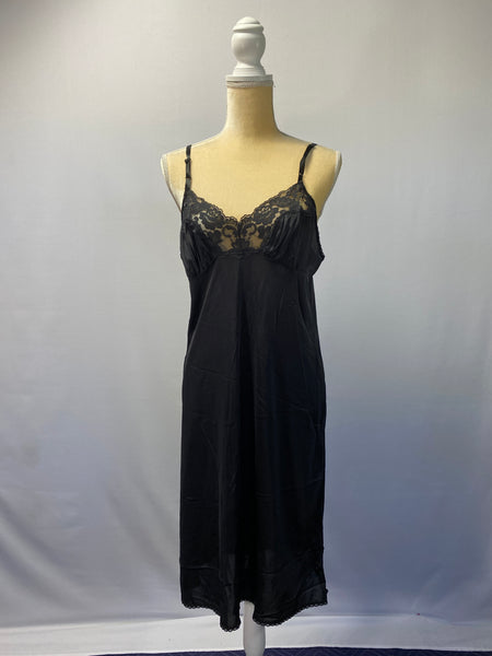 Milla Slip/ Night-Dress Black Silk & Lace SZ M