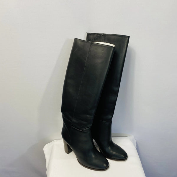J.CREW Leather knee high boots chunky heel NWOT
