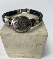 Leather Bracelet/ Bangle Black And Steel