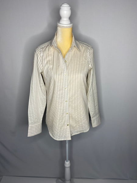 Banana Republic Shirt Button Down White Brown Stripes SZ XS