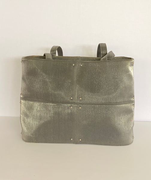 Tote Bag In Shinny Grey Silver Tone Accents