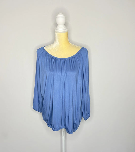 Michael Kors Top Blouse Blue 3/4 Sleeves SZ M NWT