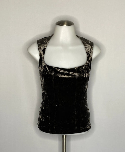 Marks&Spencer Autograph Top Brown Velvet Sleeveless SZ 2 NWT