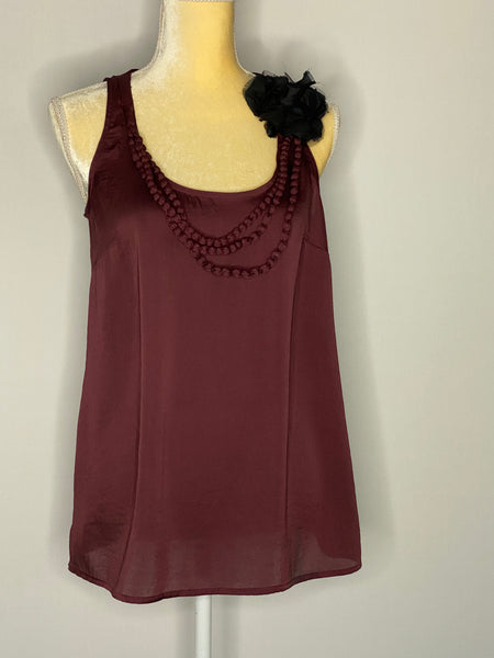 Ann Taylor Loft Top Burgundy lace Flower And Trim NWT XS