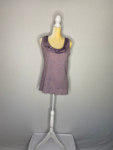J.Crew TeeS Round-Neck With Silk Ruffles Lilac S