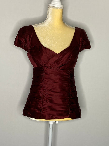 Nanette Lepore Top 100% Silk Lined Cap Sleeve 6