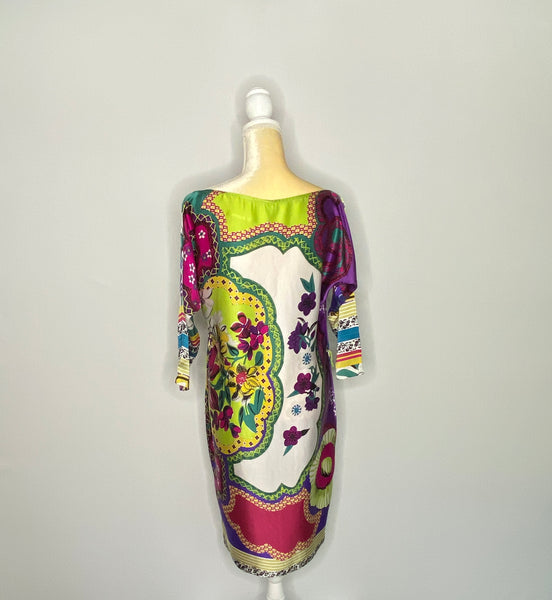 Cache Dress Silk 3 Quarter Sleeves Colorful Belt 8
