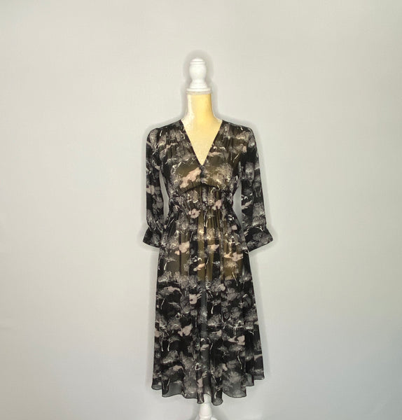 Club Monica Dress Sheer Empire Waist 3/4 Sleeves