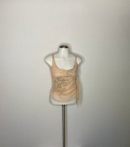 Top Crop Lace  Fitted Tan Two Layers XS