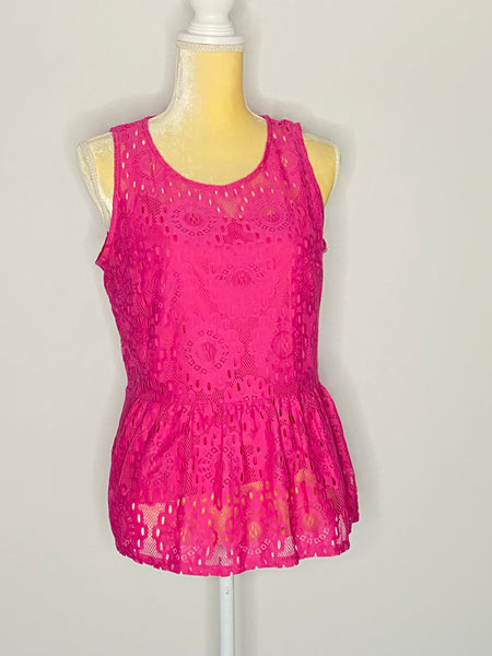 Laundry By Shelli Segal Top Two Layers Deep Neo Pink NWT L