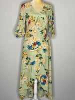 Floral Wrap Dress 3 quarter sleeves Maxi NWOT L