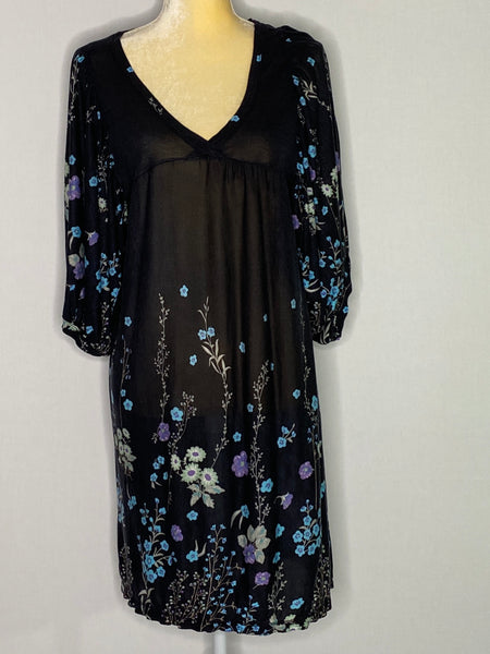 Free People Dress Floral Sheer 3/$ Sleeve V-Neck M