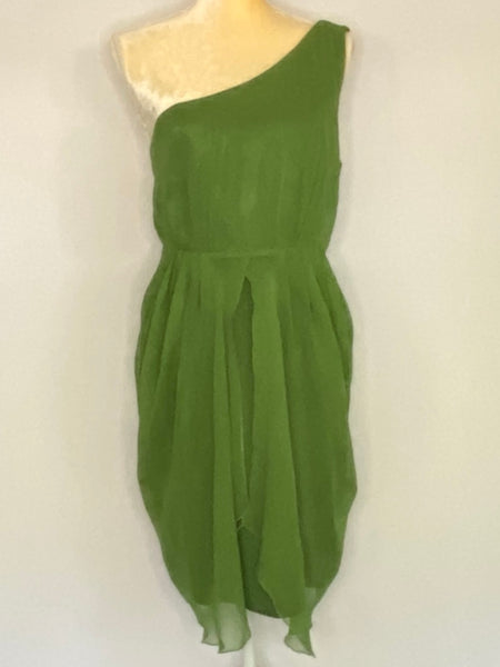 Alice + Olivia Dress Green Sleeveless Sheer Fully Lined L