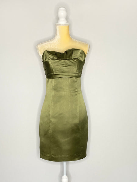 Amsale Dress Olive Green Built In Corset Strapless M