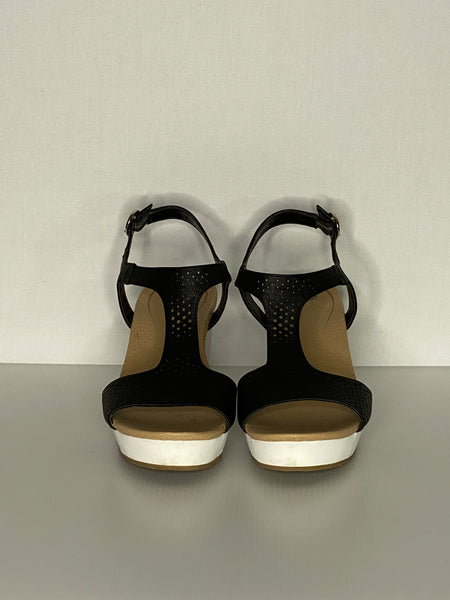 DR Scholls Sandals Black & White Wedge Leather 9